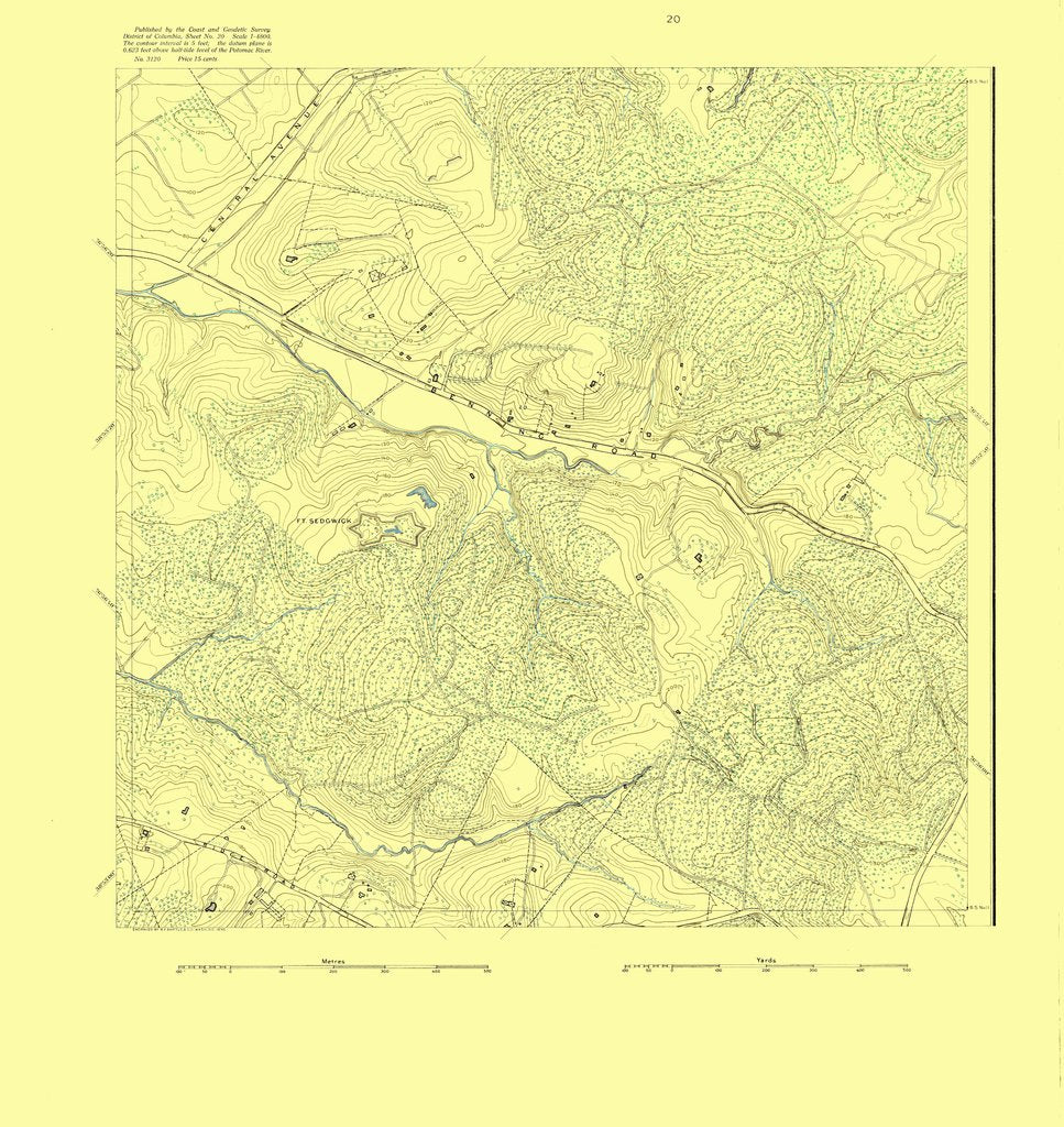 18 x 24 inch 1895 US old nautical map drawing chart of DC Sheet No. 20 From  US Coast & Geodetic Survey x720
