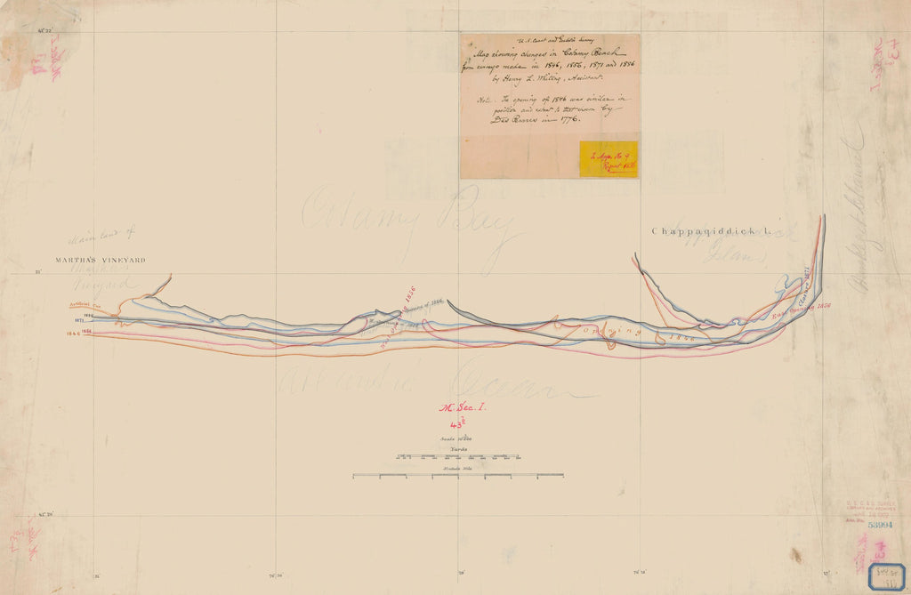 18 x 24 inch 1886 US old nautical map drawing chart of MAP SHOWING CHANGES IN COTAMY BEACH From  U.S. Coast Survey x2229