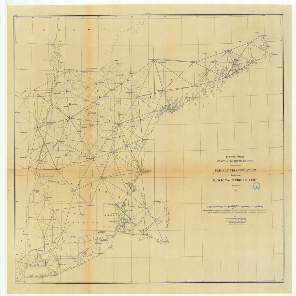 18 x 24 inch 1879 New Jersey old nautical map drawing chart of Primary Triangulation Between the Hudson and St. Croix Rivers From  US Coast & Geodetic Survey x7436