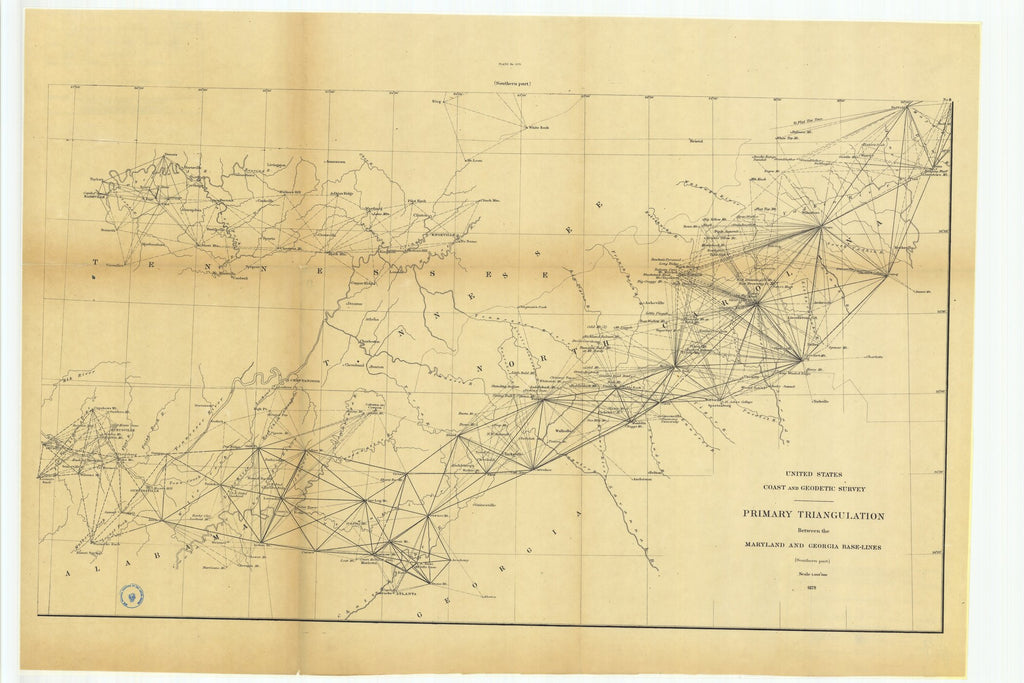 18 x 24 inch 1879 US old nautical map drawing chart of Primary Triangulation Between the Maryland and Georgia Base-Lines From  US Coast & Geodetic Survey x989