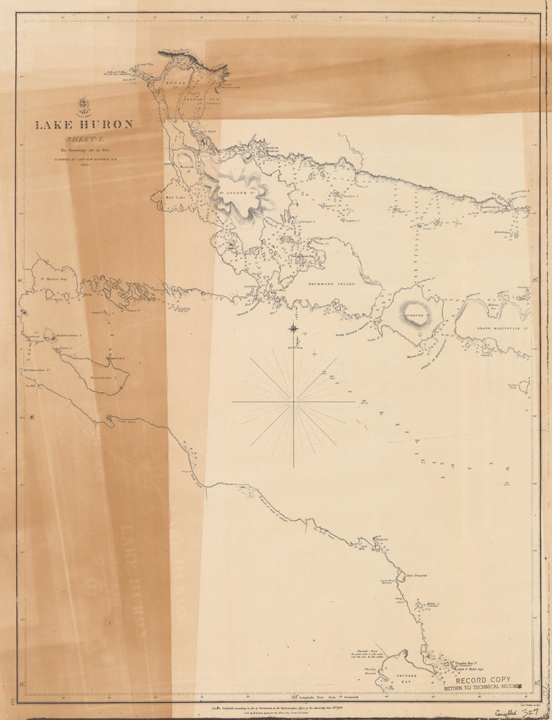 18 x 24 inch 1848 US old nautical map drawing chart of LAKE HURON From  Lake Survey x4187