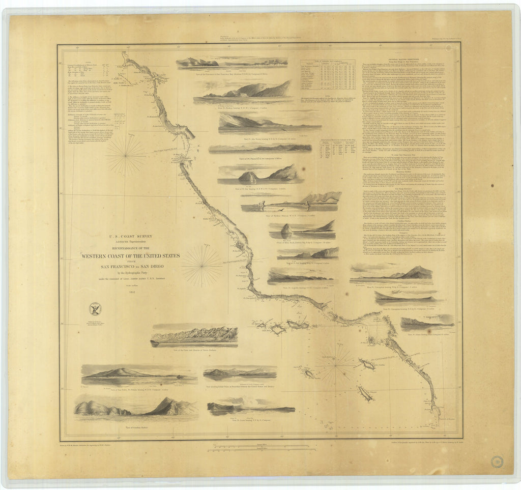 18 x 24 inch 1852 California old nautical map drawing chart of Western Coast of the United States San Francisco to San Diego From  U.S. Coast Survey x9777