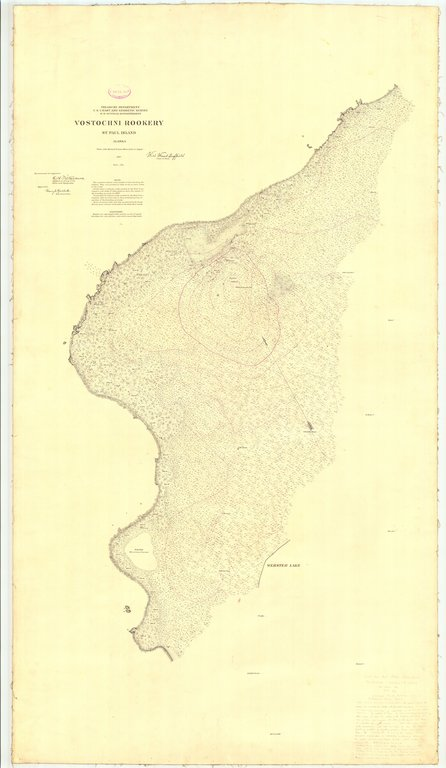 18 x 24 inch 1897 US old nautical map drawing chart of Vostochni Rookery St. Paul Island From  US Coast & Geodetic Survey x218
