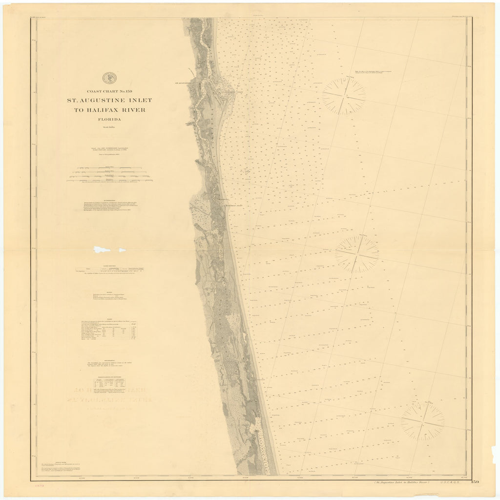 18 x 24 inch 1893 US old nautical map drawing chart of ST. AUGUSTINE INLET TO HALIFAX RIVER, FLORIDA From  US Coast & Geodetic Survey x2469