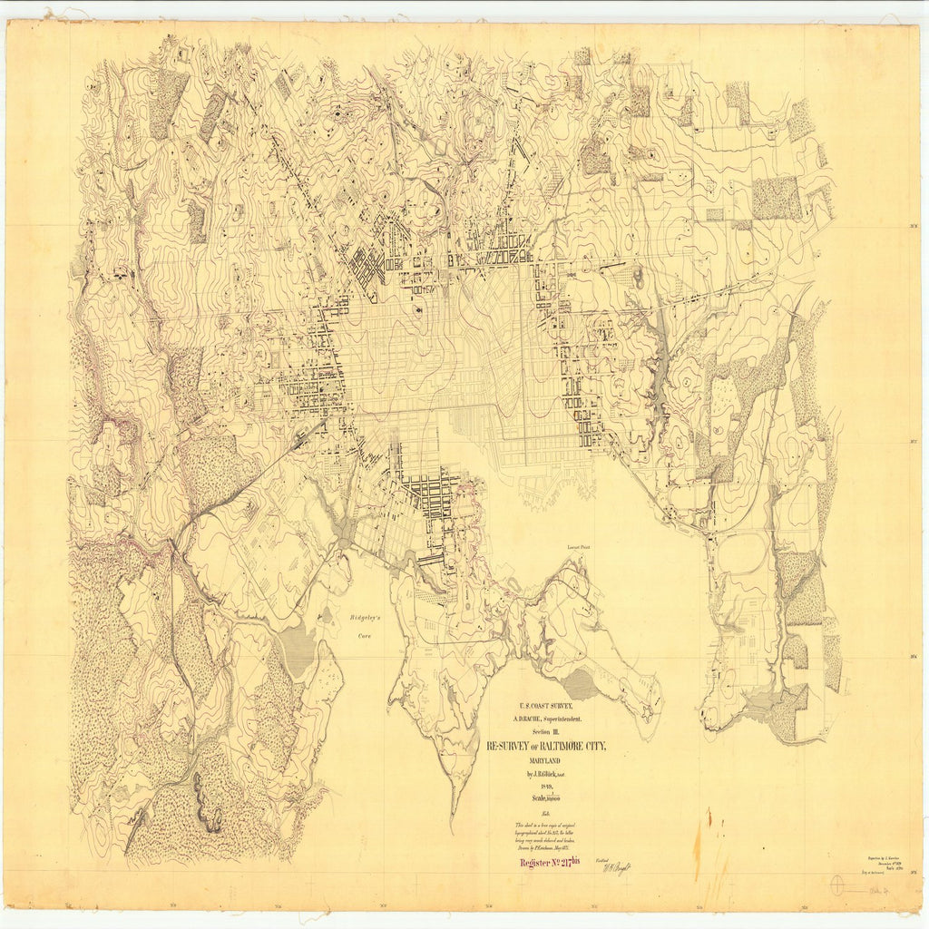 18 x 24 inch 1849 US old nautical map drawing chart of Resurvey of Baltimore City From  U.S. Coast Survey x2863