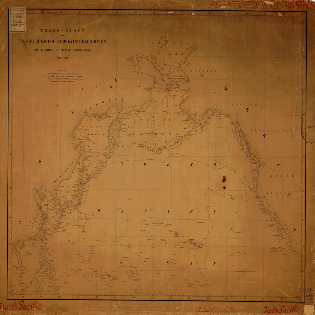 18 x 24 inch 1856 US old nautical map drawing chart of U.S. NORTH PACIFIC SURVEYING EXPEDITION From  NOAA x6009