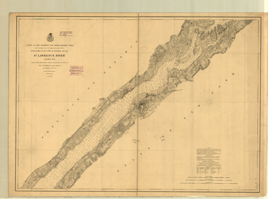 18 x 24 inch 1873 New York old nautical map drawing chart of SAINT LAWRENCE RIVER PART 3 From  Lake Survey x6933