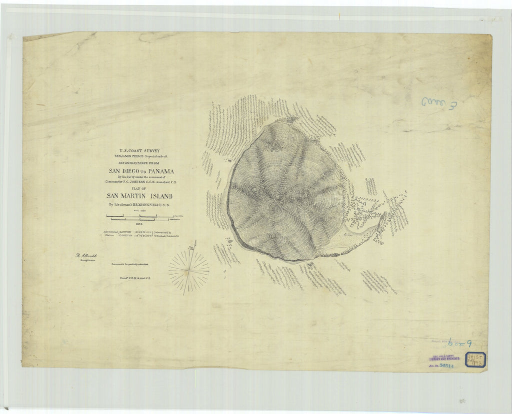 18 x 24 inch 1873 US old nautical map drawing chart of Reconnaissance From San Diego to Panama, Plan of San Martin Island From  U.S. Coast Survey x2078