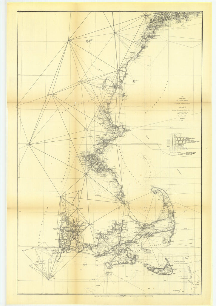 18 x 24 inch 1861 US old nautical map drawing chart of Sketch A Showing the Progress of the Survey in Section Number 1 from 1844 to 1861, Lower Sheet From  U.S. Coast Survey x3961