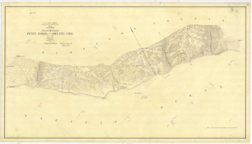 18 x 24 inch 1871 US old nautical map drawing chart of Coast Between Punta Gorda and Shelter Cove From  U.S. Coast Survey x2052