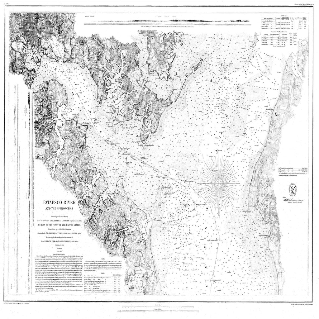 18 x 24 inch 1859 US old nautical map drawing chart of Navigation Chart of the Patapsco River and the Approaches From  U.S. Coast Survey x3585