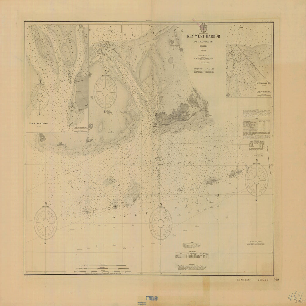 18 x 24 inch 1900 US old nautical map drawing chart of KEY WEST HARBOR AND ITS APPROACHES From  US Coast & Geodetic Survey x1768