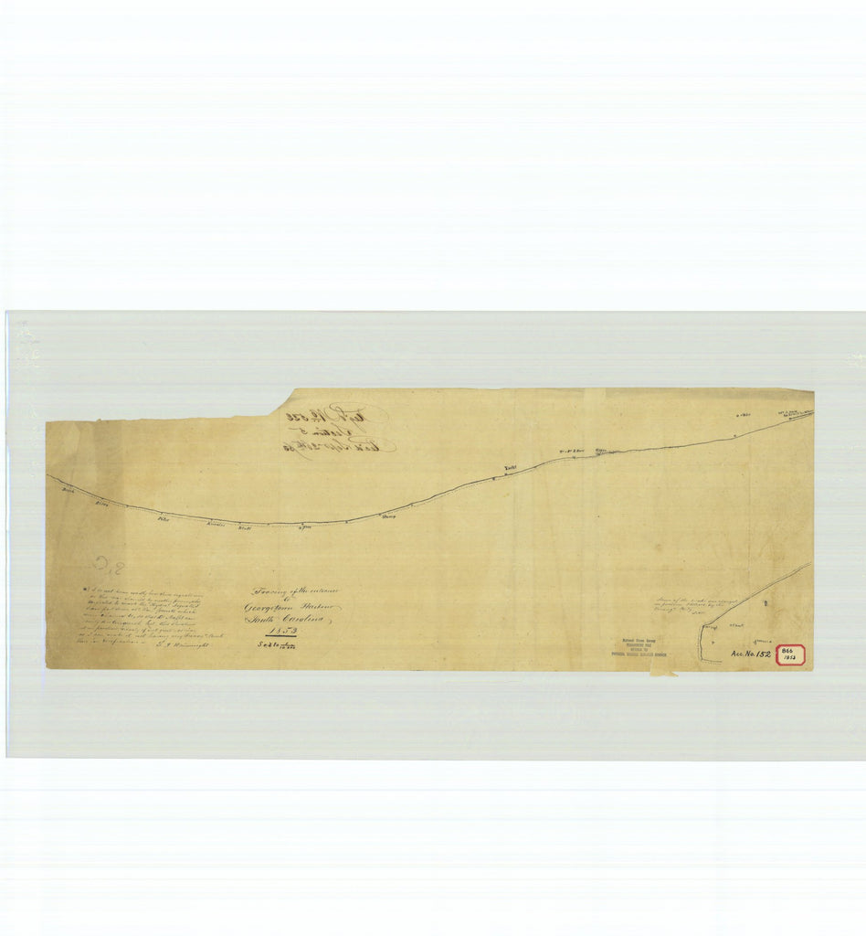 18 x 24 inch 1853 South Carolina old nautical map drawing chart of Tracing of the Entrance to Georgetown Harbor South Carolina From  U.S. Coast Survey x7563