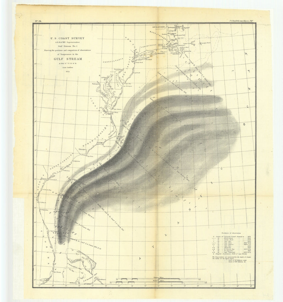 18 x 24 inch 1854 North Carolina old nautical map drawing chart of Gulf Stream Number 1 Showing the Positions and Comparisons of Observations of Temperature in the Gulf Stream in 1845 through 1848, 1853 and 1854 From  U.S. Coast Survey x9377