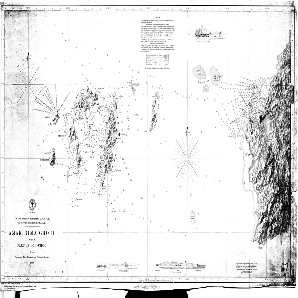 18 x 24 inch 1855 OTHER old nautical map drawing chart of Amakirima Group with Part of Loo-Choo From  Hydrographic Bureau x7939