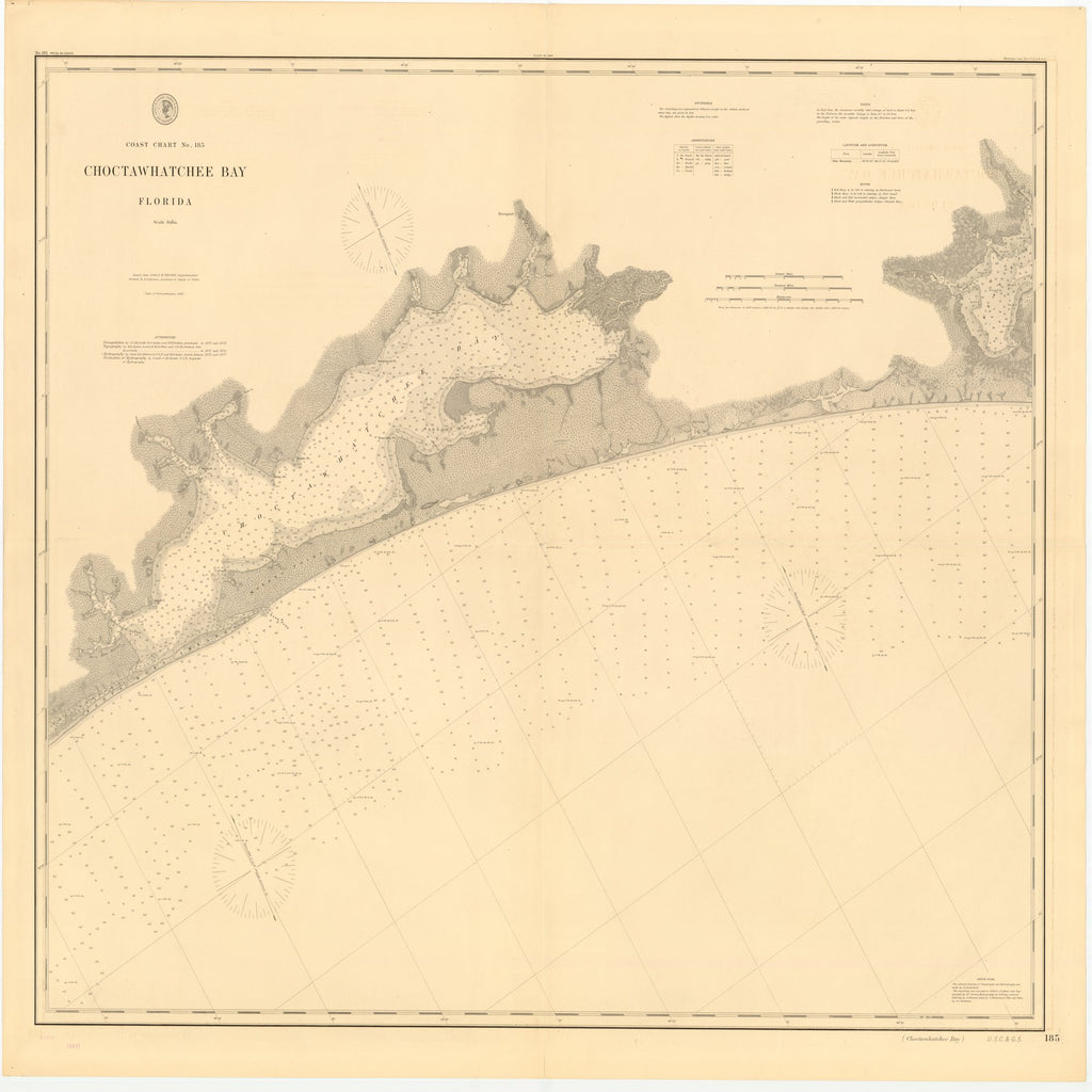 18 x 24 inch 1886 US old nautical map drawing chart of CHOCTAWHATCHEE BAY, FLORIDA From  US Coast & Geodetic Survey x2127