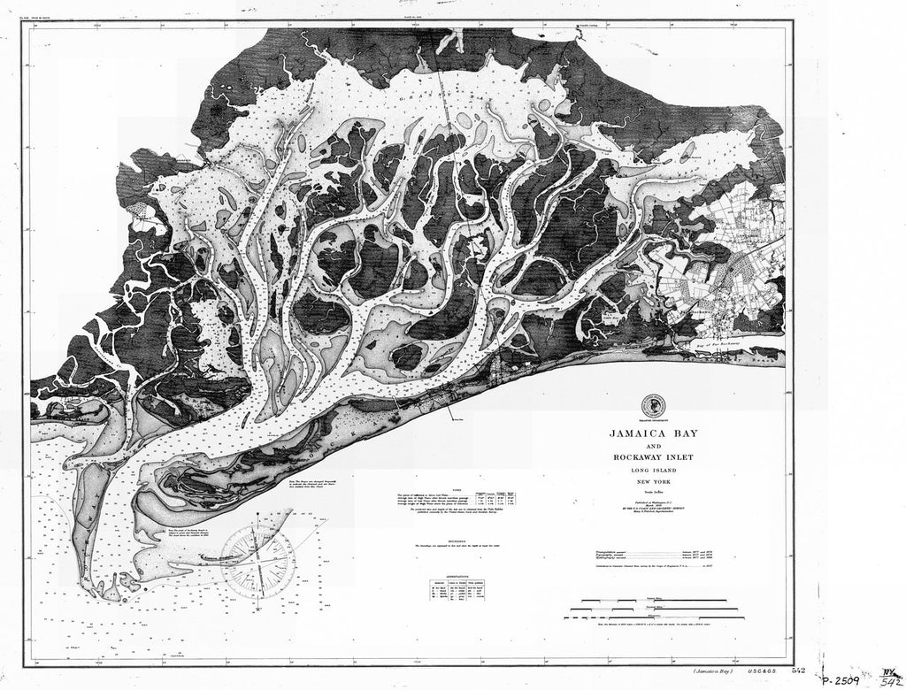 18 x 24 inch 1899 New York old nautical map drawing chart of JAMAICA BAY AND ROCKAWAY INLET LONG ISLAND From  US Coast & Geodetic Survey x6920