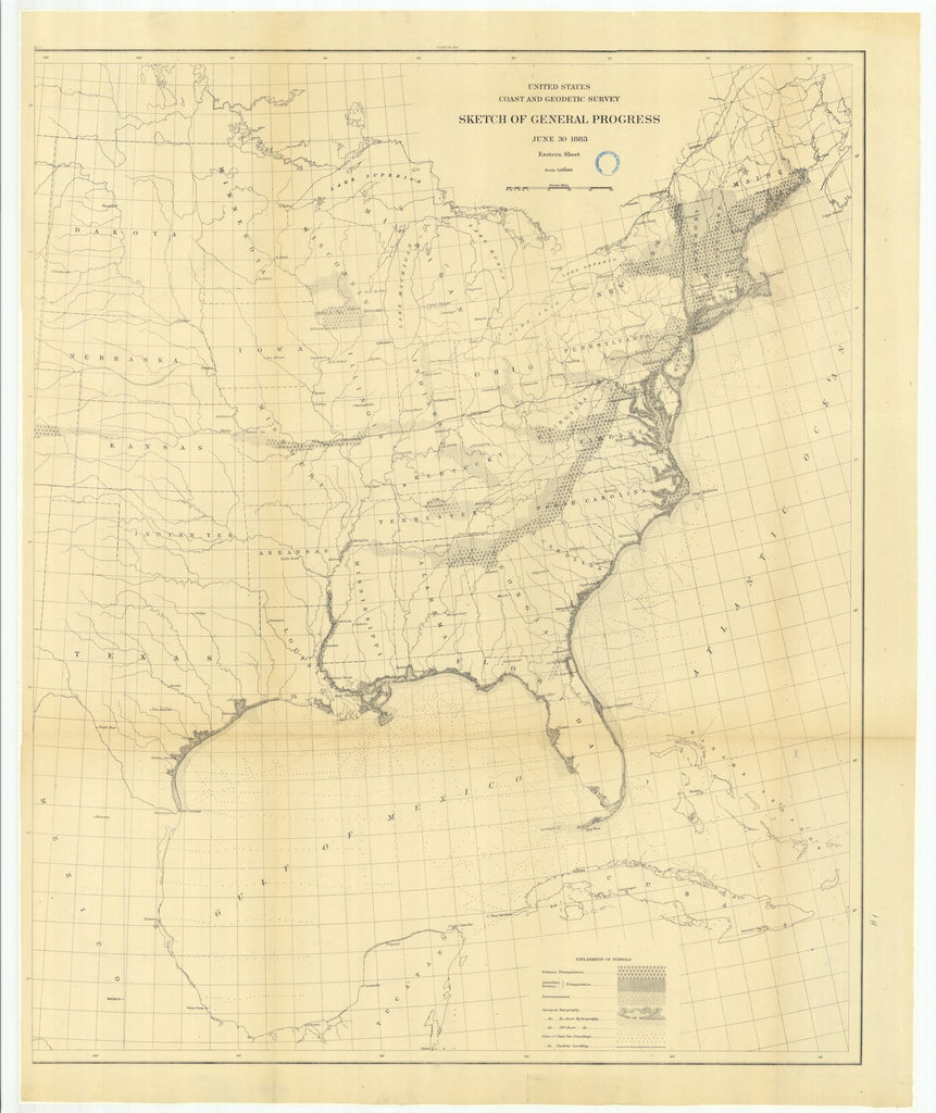 18 x 24 inch 1883 US old nautical map drawing chart of Sketch of General Progress, June 30, 1883, Eastern Sheet From  US Coast & Geodetic Survey x1242
