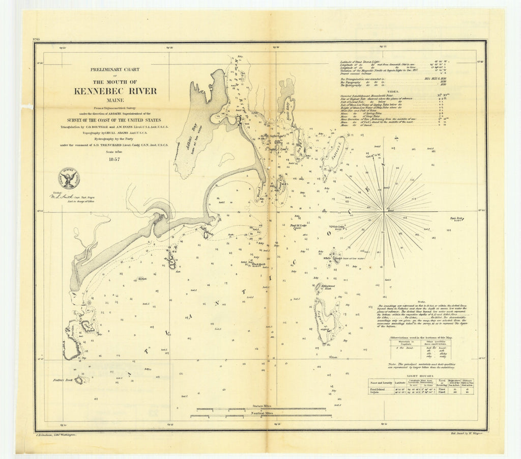 18 x 24 inch 1857 US old nautical map drawing chart of Preliminary Chart of the Mouth of Kennebec River, Maine From  U.S. Coast Survey x5140