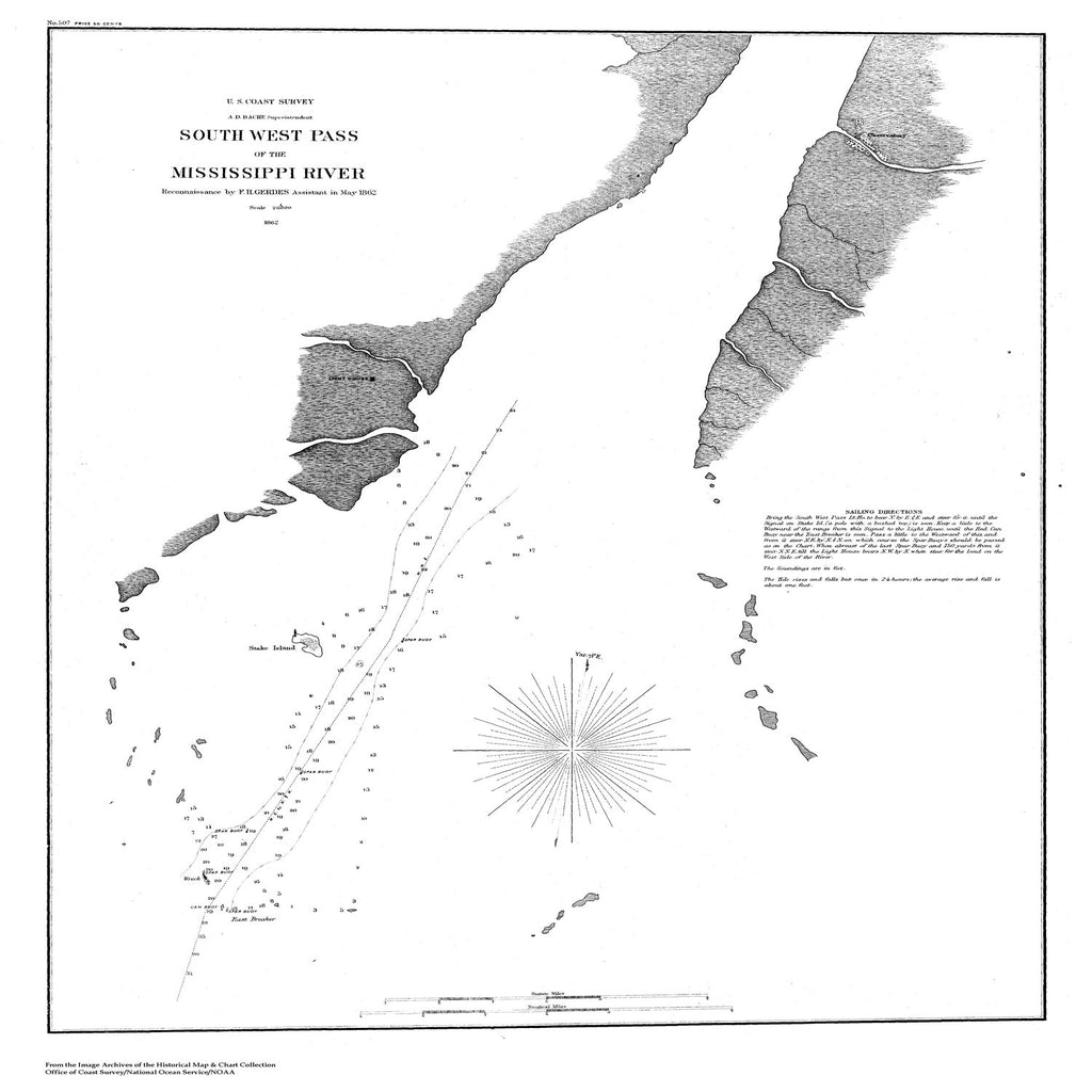 18 x 24 inch 1853 US old nautical map drawing chart of Navigation Chart of the Entrance to Pascagoula River From  U.S. Coast Survey x5389