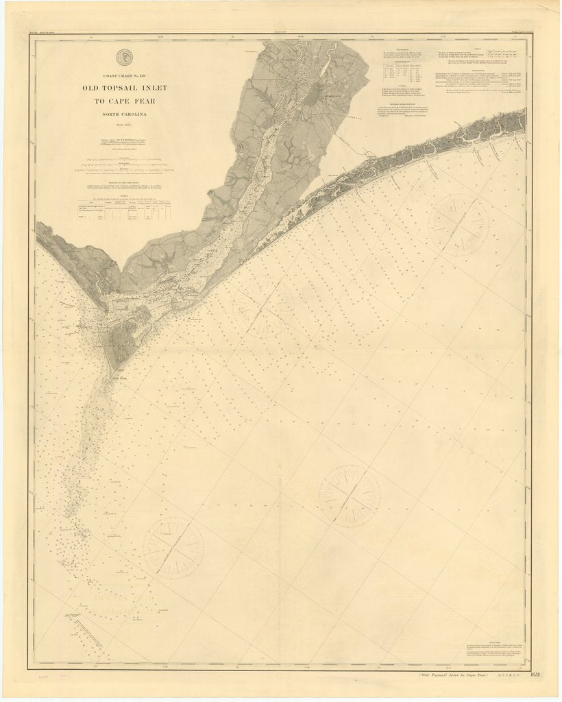 18 x 24 inch 1897 North Carolina old nautical map drawing chart of OLD TOPSAIL INLET TO CAPE FEAR, NORTH CAROLINA From  US Coast & Geodetic Survey x7127