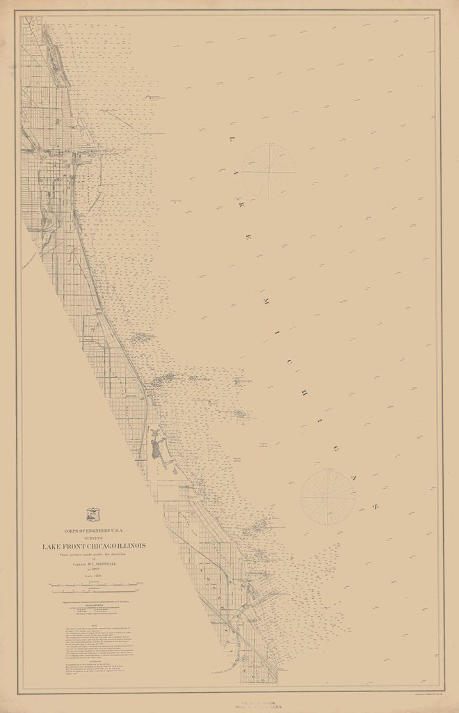 18 x 24 inch 1892 US old nautical map drawing chart of LAKE FRONT CHICAGO ILLINOIS From  Lake Survey x1524