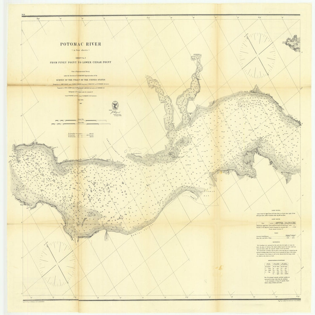 18 x 24 inch 1862 US old nautical map drawing chart of Potomac River in Four Sheets, Sheet Number 2 from Piney Point to Lower Cedar Point From  U.S. Coast Survey x4041