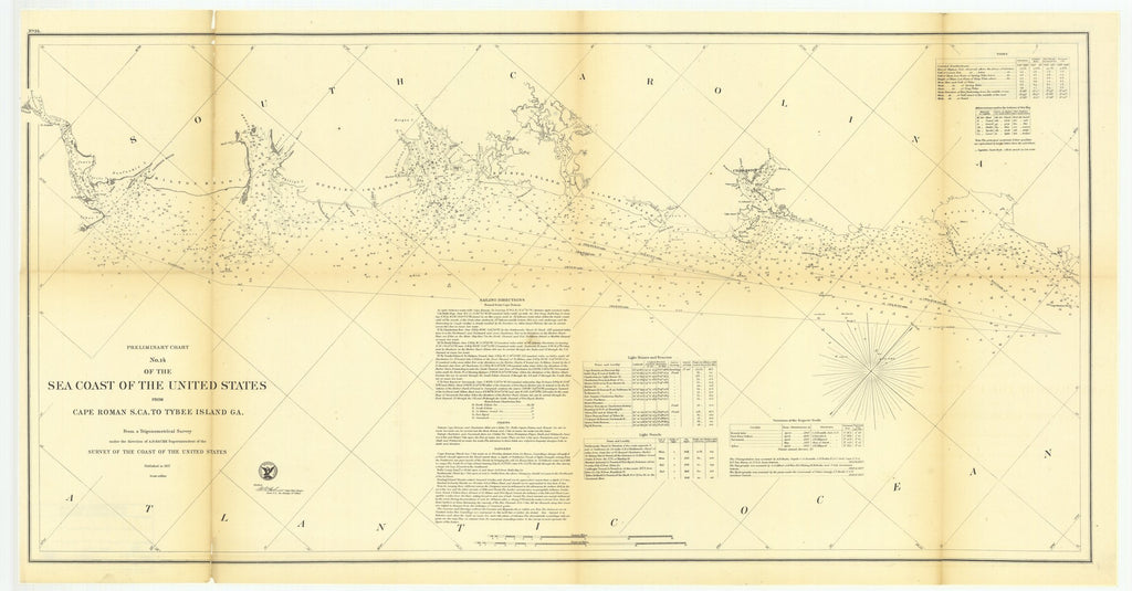18 x 24 inch 1857 South Carolina old nautical map drawing chart of Preliminary Chart Number 14 of the Sea Coast of the United States from Cape Roman South Carolina to Tybee Island, Georgia From  U.S. Coast Survey x9027