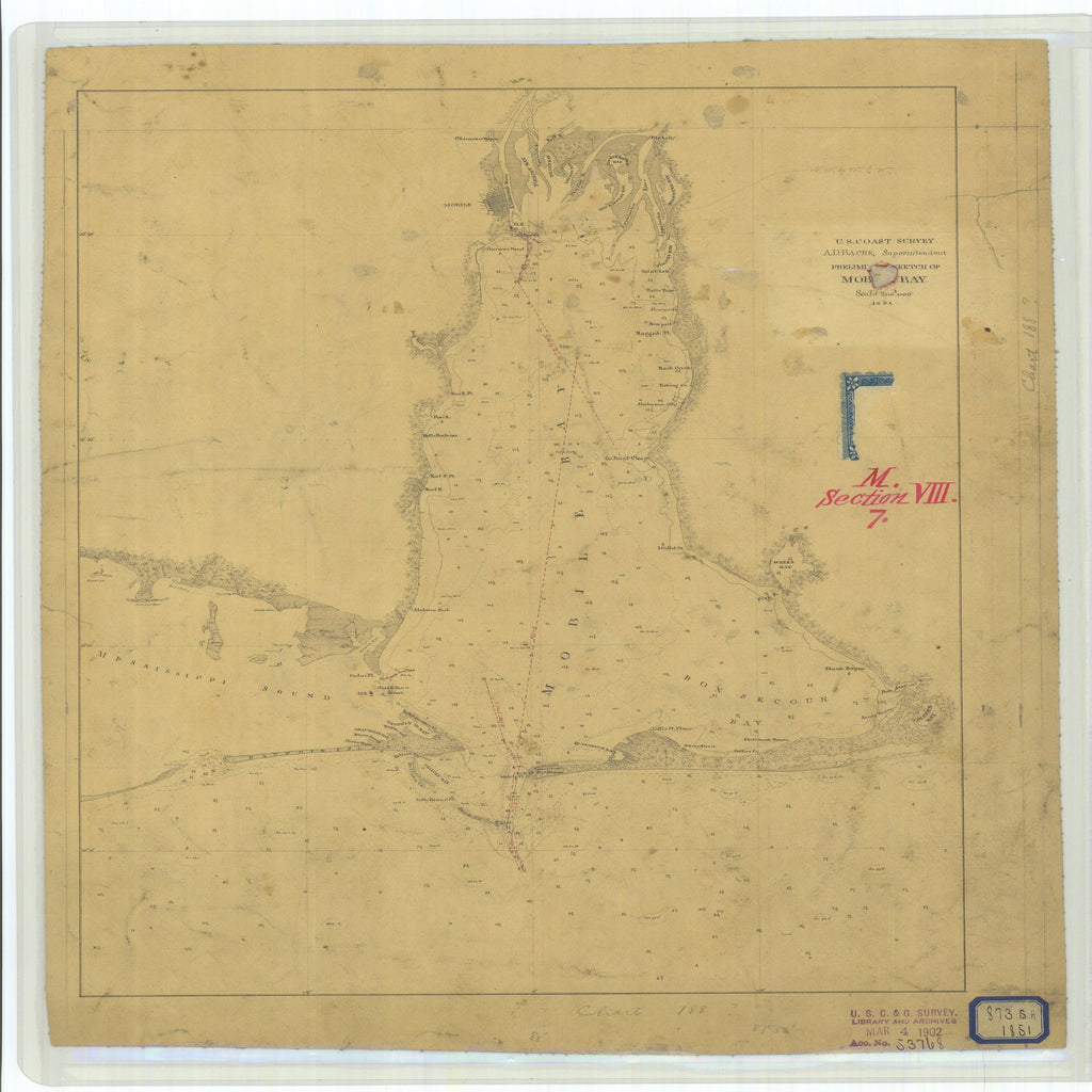 18 x 24 inch 1851 US old nautical map drawing chart of Preliminary Sketch of Mobile Bay From  U.S. Coast Survey x2520
