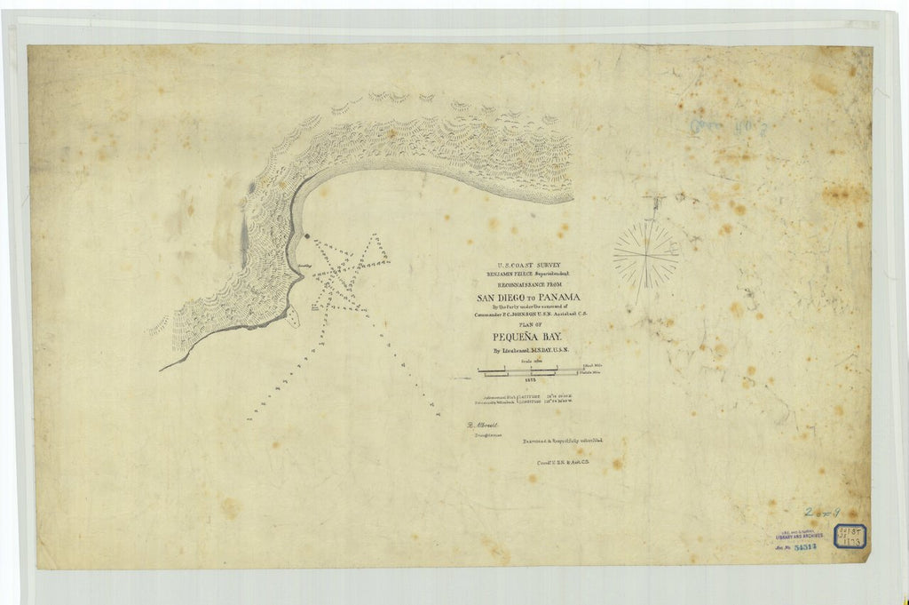 18 x 24 inch 1873 US old nautical map drawing chart of Reconnaissance From San Diego to Panama, Plan of Pequena Bay From  U.S. Coast Survey x482