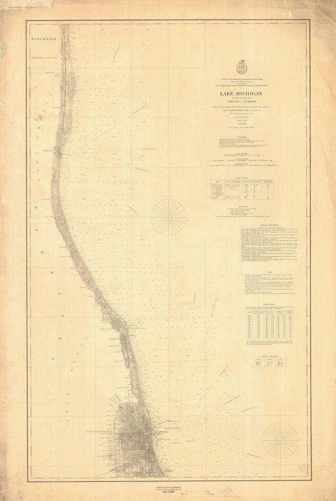 18 x 24 inch 1894 US old nautical map drawing chart of LAKE MICHIGAN CHICAGO TO KENOSHA From  Lake Survey x1544