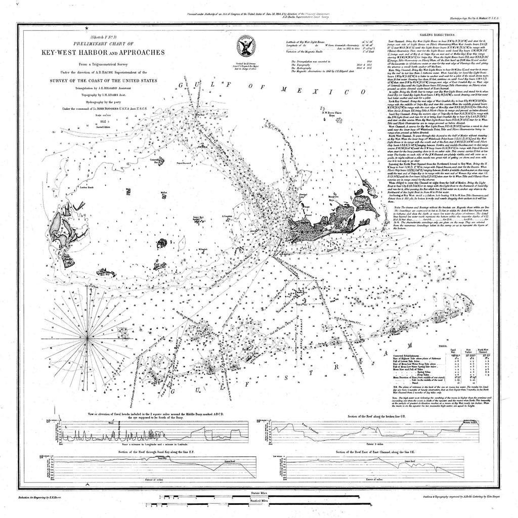 18 x 24 inch 1852 US old nautical map drawing chart of Preliminary Chart of Key West Harbor and Approaches From  U.S. Coast Survey x2515