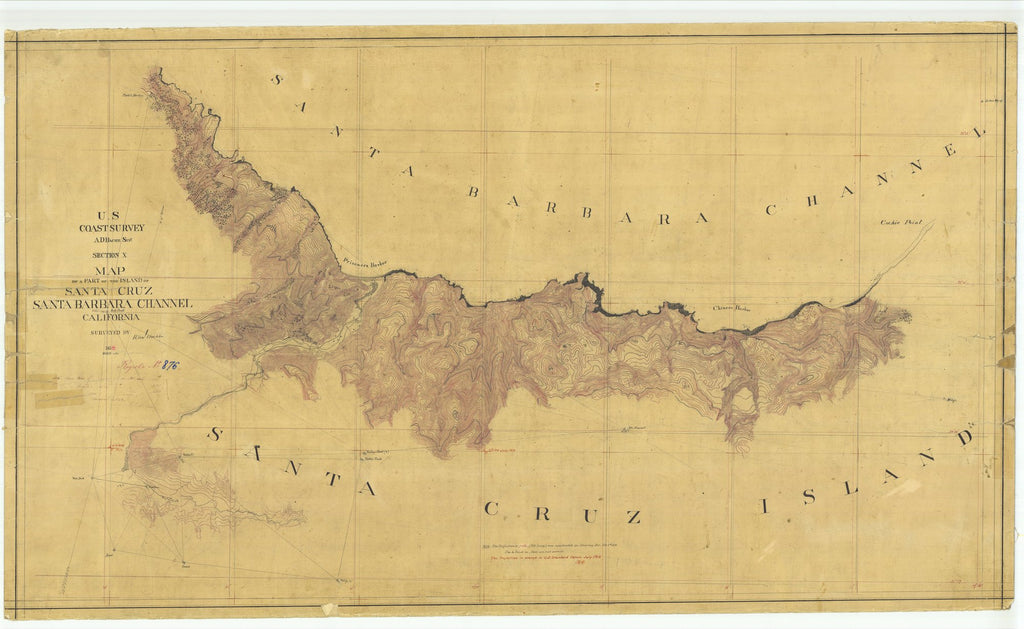 18 x 24 inch 1859 US old nautical map drawing chart of Part of the Island of Santa Cruz, CA From  U.S. Coast Survey x1678