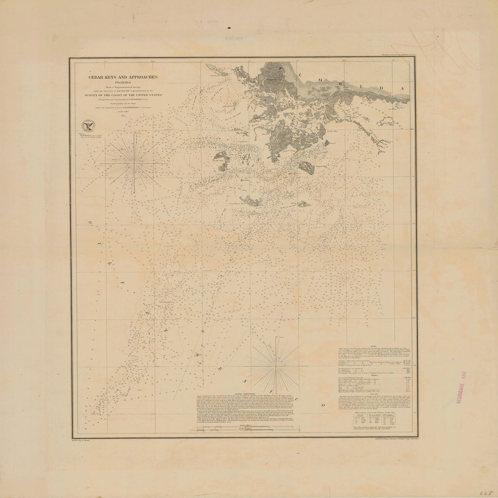 18 x 24 inch 1854 US old nautical map drawing chart of CEDAR KEYS AND APPROACHES From  U.S. Coast Survey x1743