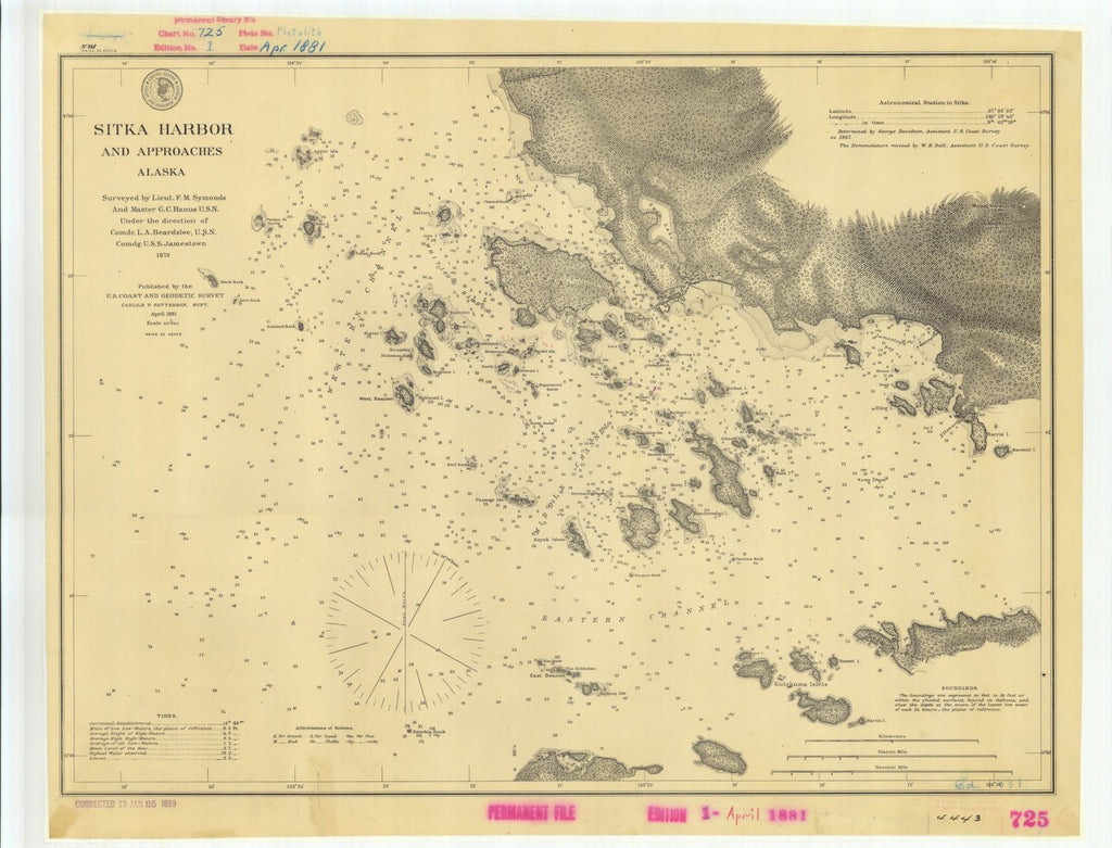 18 x 24 inch 1881 US old nautical map drawing chart of Sitka Harbor and Approaches Alaska From  US Coast & Geodetic Survey x504