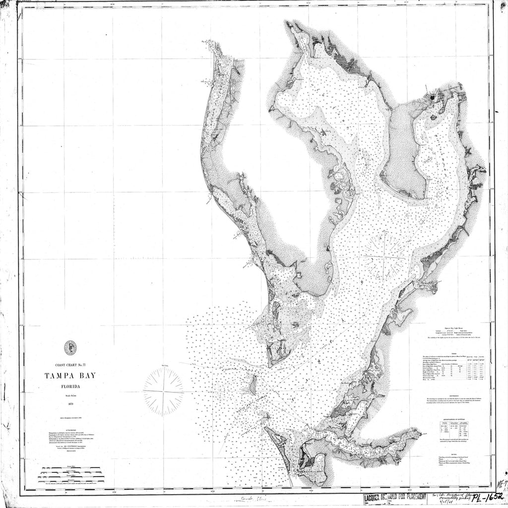 18 x 24 inch 1879 US old nautical map drawing chart of Navigation Chart of Tampa Bay From  C&GS x2094