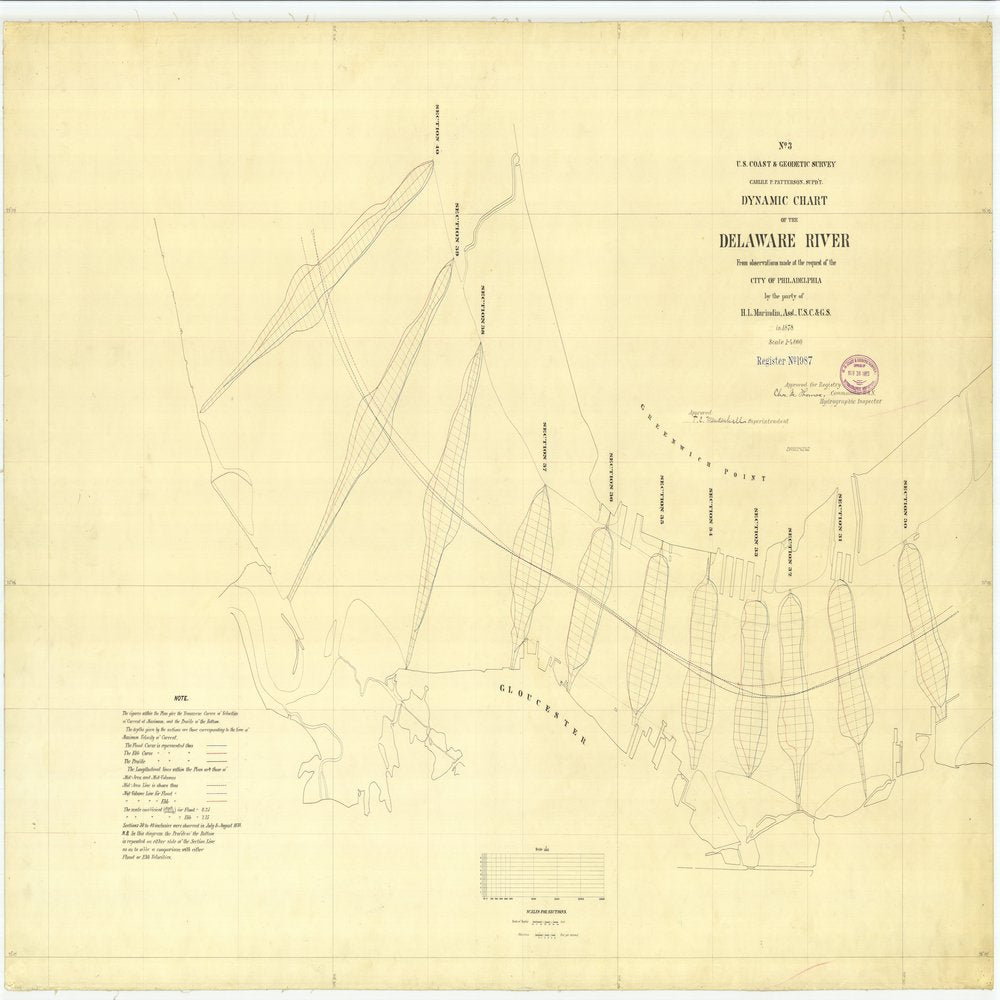 18 x 24 inch 1878 US old nautical map drawing chart of No.3 Dynamic Chart of the Delaware River From  US Coast & Geodetic Survey x1073