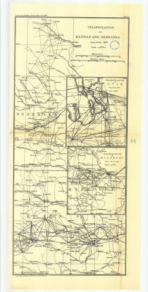 18 x 24 inch 1897 US old nautical map drawing chart of 14. Sketch showing triangulation in Kansas and Nebraska, with subsketches showing Salt Lake Base and triangula- From  US Coast & Geodetic Survey x2661