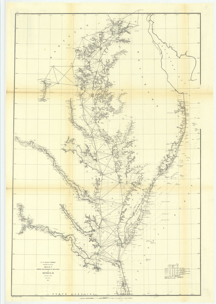 18 x 24 inch 1860 North Carolina old nautical map drawing chart of Sketch C Showing the Progress of the Survey in Section Number 3 from 1843 to 1860 From  U.S. Coast Survey x7180