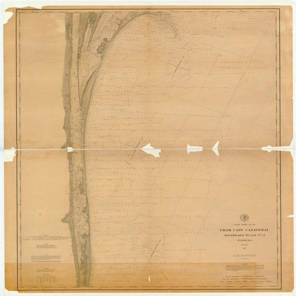 18 x 24 inch 1887 US old nautical map drawing chart of FROM CAPE CANAVERAL SOUTHWARD TO LAT. 27 ¡ 41' , FLORIDA From  US Coast & Geodetic Survey x2144