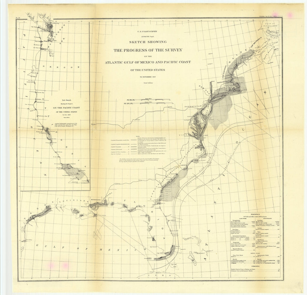 18 x 24 inch 1859 US old nautical map drawing chart of Sketch Showing the Progress of the Survey on the Atlantic Gulf of Mexico and Pacific Coast of the United States to November 1859 From  U.S. Coast Survey x2918