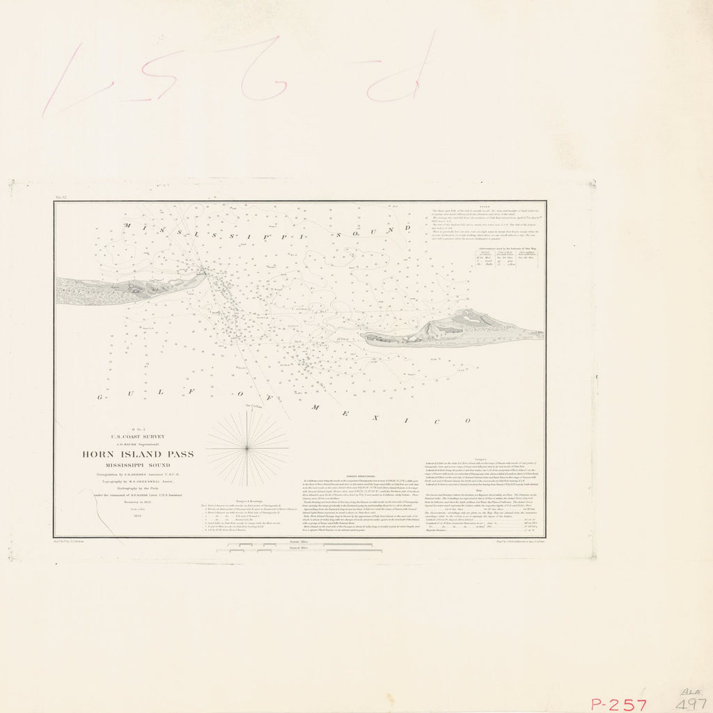 18 x 24 inch 1853 US old nautical map drawing chart of HORN ISLAND PASS From  U.S. Coast Survey x5889