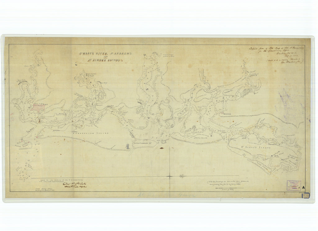 18 x 24 inch 1857 US old nautical map drawing chart of Saint Mary's River Saint Andrews and Saint Simon's Sounds From  U.S. Coast Survey x1486