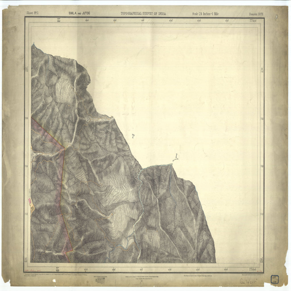 18 x 24 inch 1873 OTHER old nautical map drawing chart of Topographical Survey of India Simla and Jutog From  Surveyor General's Office x7263