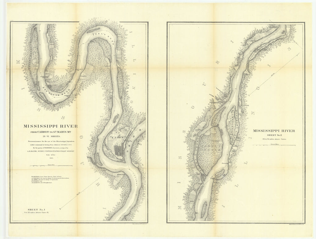 18 x 24 inch 1865 US old nautical map drawing chart of Mississippi River from Cairo, Illinois to Saint Marys, Missouri in four sheets, Sheet Number 1, with Mississippi River, Sheet Number 2 From  U.S. Coast Survey x1533