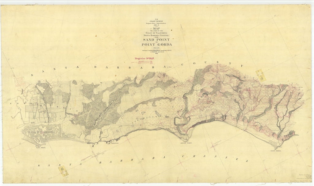 18 x 24 inch 1869 US old nautical map drawing chart of Santa Barbara Channel From Sand Point to Point Gorda From  U.S. Coast Survey x1700