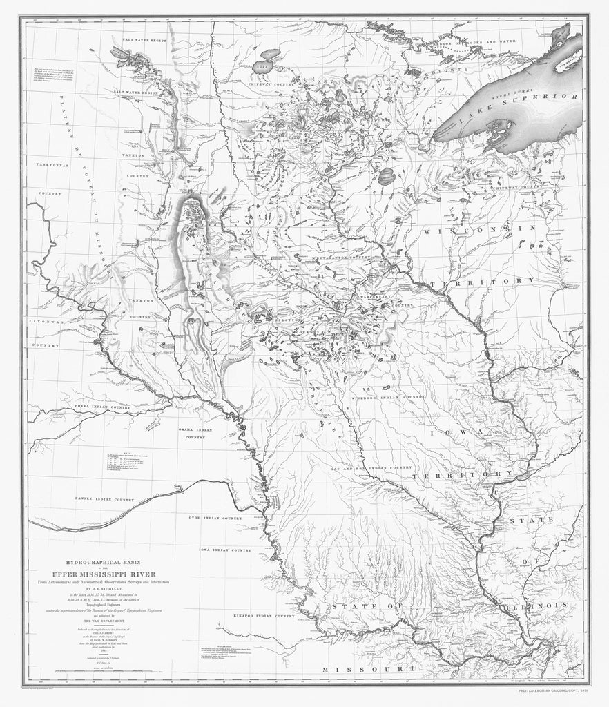 18 x 24 inch 1843 US old nautical map drawing chart of HYDROGRAPHICAL BASIN OF THE UPPER MISSISSIPPI RIVER From  NOAA x1223