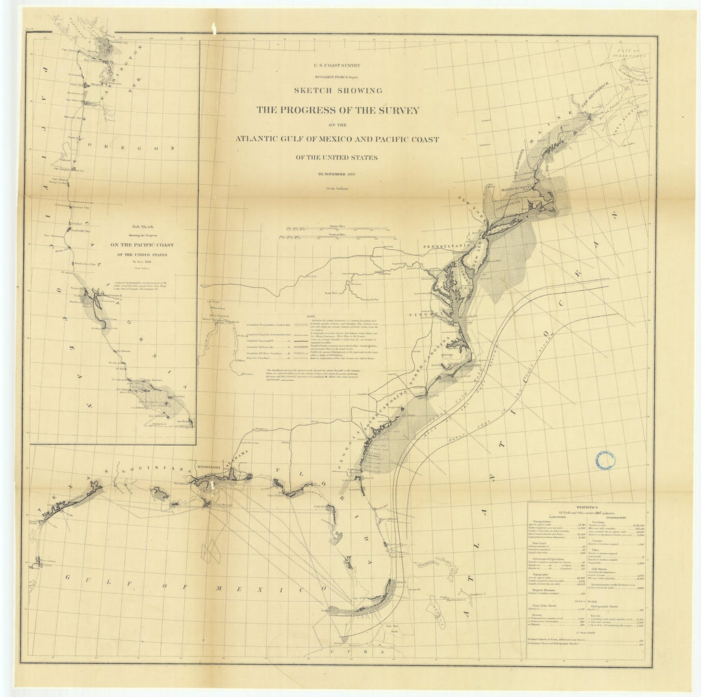 18 x 24 inch 1868 US old nautical map drawing chart of Sketch Showing the Progress of the Survey on the Atlantic Gulf of Mexico and Pacific Coast of the United States to November 1868.. From  U.S. Coast Survey x1838