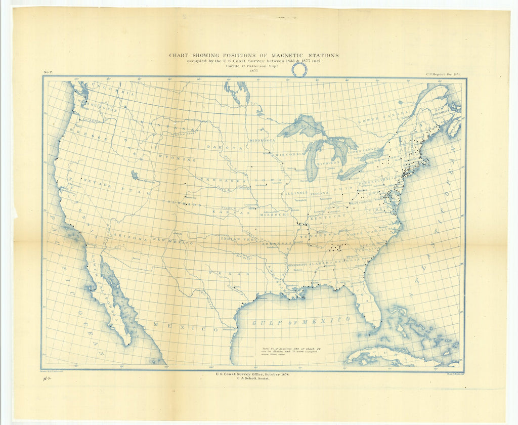18 x 24 inch 1878 US old nautical map drawing chart of Chart Showing Positions of Magnetic Stations Occupied by the U.S. Coast Survey Between 1833 and 1877 From  US Coast & Geodetic Survey x912