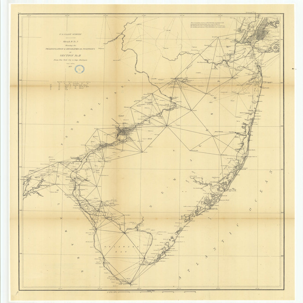 18 x 24 inch 1873 US old nautical map drawing chart of Sketch B Number 3 Showing the Triangulation and Geographical Positions in Section Number 2 from New York City to Cape Henlopen From  U.S. Coast Survey x1925